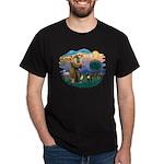 St Francis #2/ Fr Bulldog (brin) Dark T-Shirt
