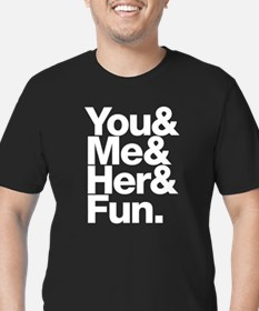 You and Me and Her Men's Fitted T-Shirt (dark)