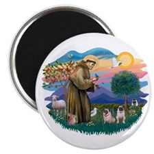 St. Fran #2/ Two Pugs (fawn) Magnet