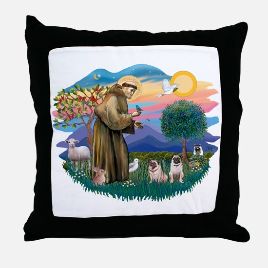 St. Fran #2/ Two Pugs (fawn) Throw Pillow