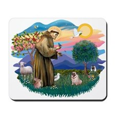 St Francis #2/ Pug (fawn) Mousepad