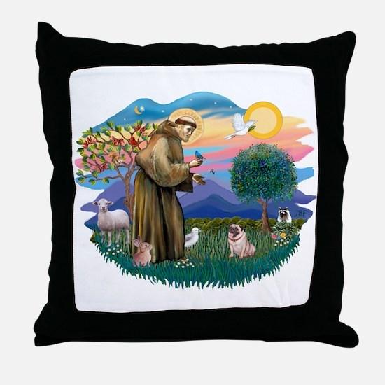 St Francis #2/ Pug (fawn) Throw Pillow