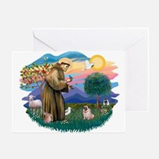 St Francis #2/ Pug (fawn) Greeting Card