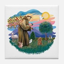 St. Fran #2/ Apricot Poodle (min) Tile Coaster