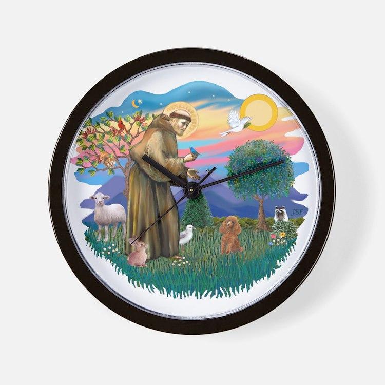 St. Fran #2/ Apricot Poodle (min) Wall Clock