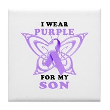 I Wear Purple for My Son Tile Coaster