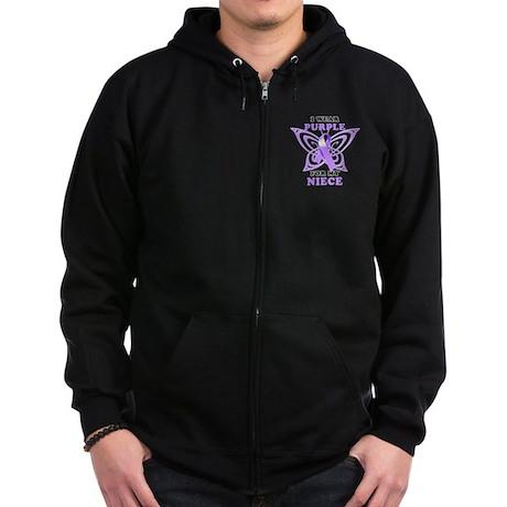 I Wear Purple for My Niece Zip Hoodie (dark)