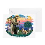 St Francis #2/ E Bulldog #3 Greeting Cards (Pk of