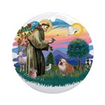 St. Fran #2/ English Bulldog (BrW) Ornament (Round