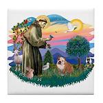St. Fran #2/ English Bulldog (BrW) Tile Coaster