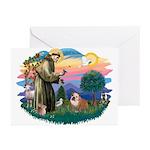 St. Fran #2/ English Bulldog (BrW) Greeting Cards