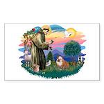 St. Fran #2/ English Bulldog (BrW) Sticker (Rectan