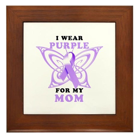 I Wear Purple for My Mom Framed Tile