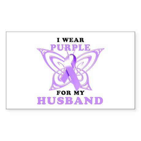 I Wear Purple for My Husband Sticker (Rectangle)