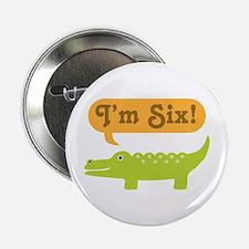 """Alligator 6th Birthday 2.25"""" Button"""