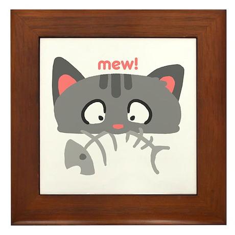 Tabby Says Mew Framed Tile