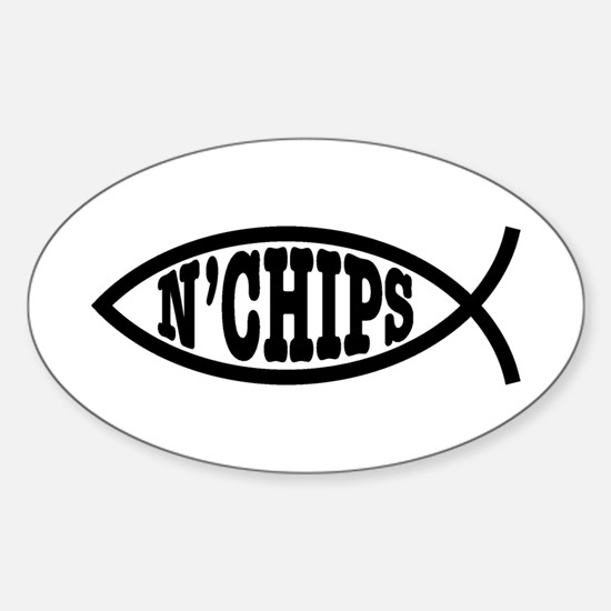 Fish n' Chips Sticker (Oval)