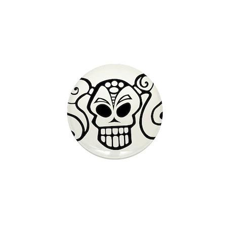 Ponytail Skull Goth Girlie Mini Button (100 pack)