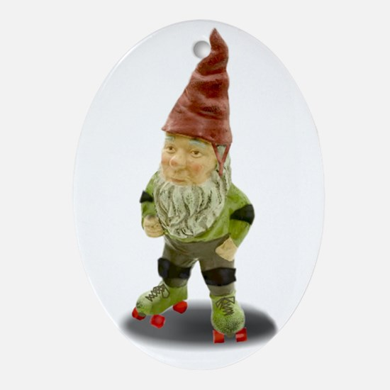 The Rolling Gnome Ornament (Oval)