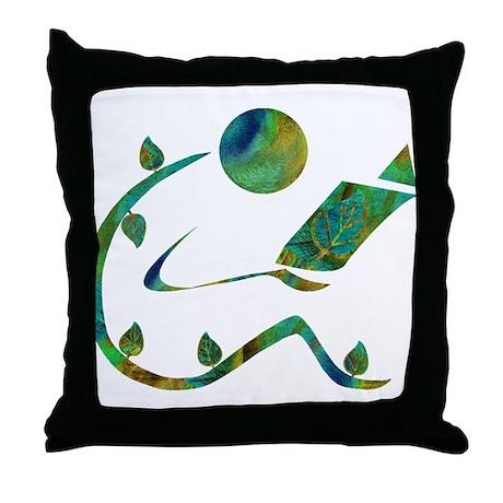 Green Reader Throw Pillow
