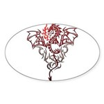 Fire Breathing Tattoo Dragon Sticker (Oval)