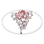 Fire Breathing Tattoo Dragon Sticker (Oval 50 pk)