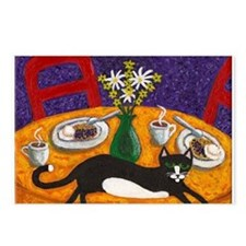 Tuxedo Cat and Coffee Postcards (Package of 8)