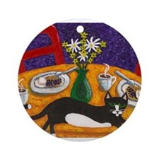 Tuxedo Cat and Coffee Ornament (Round)