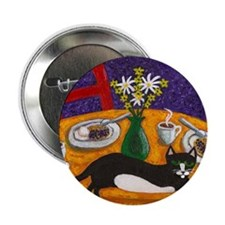 """Tuxedo Cat and Coffee 2.25"""" Button"""