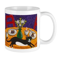 Tuxedo Cat and Coffee Mug