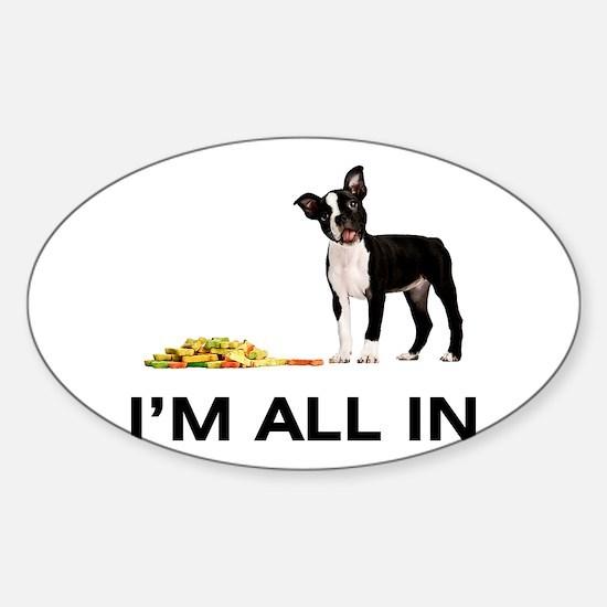 Boston Terrier Poker Sticker (Oval)
