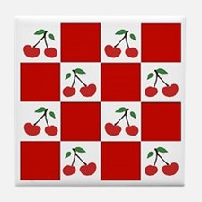 cherries (red check) Tile Coaster