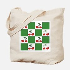 cherries: red/green check (2 sided) Tote Bag