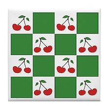 cherries (green check) Tile Coaster