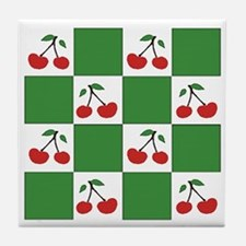 cherries (green check) Tile Coaster