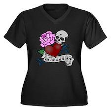 Loveless Women's Plus Size V-Neck Dark T-Shirt