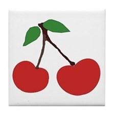 cherries (single) Tile Coaster