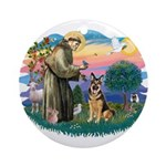 St. Fran #2/ German Shepherd (w) Ornament (Round)