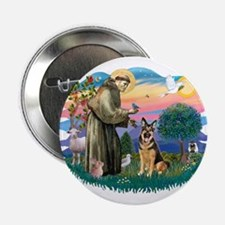 "St. Fran #2/ German Shepherd (w) 2.25"" Button"