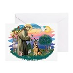 St. Fran #2/ German Shepherd (w) Greeting Cards (P