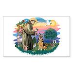 St. Fran #2/ German Shepherd (w) Sticker (Rectangl