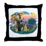 St. Fran #2/ German Shepherd (w) Throw Pillow