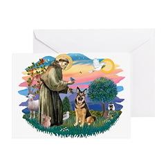 St. Fran #2/ German Shepherd (w) Greeting Card