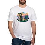 St. Fran #2/ German Shepherd (w) Fitted T-Shirt