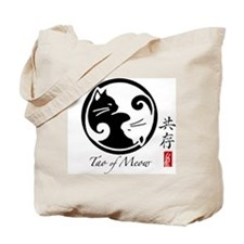 2-Sided Yin Yang Cats Canvas Tote Bag