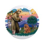St Francis #2/ Chow (R) Ornament (Round)