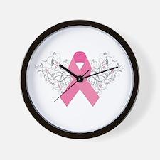 Pink Ribbon Design 3 Wall Clock