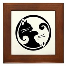 Tao of Meow: Ying Yang Cats Framed Tile/Trivet