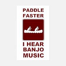 Paddle faster I here banjo mu Sticker (Rectangle)