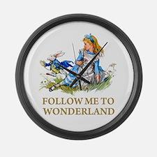 FOLLOW ME TO WONDERLAND Large Wall Clock